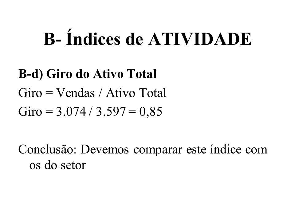 B- Índices de ATIVIDADE B-d) Giro do Ativo Total Giro = Vendas / Ativo Total Giro = 3.074 / 3.597 = 0,85 Conclusão: Devemos comparar este índice com o