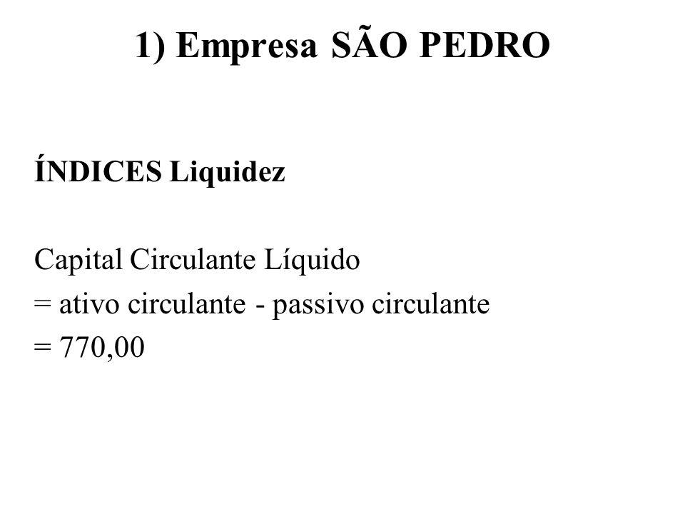 1) Empresa SÃO PEDRO ÍNDICES Liquidez Capital Circulante Líquido = ativo circulante - passivo circulante = 770,00