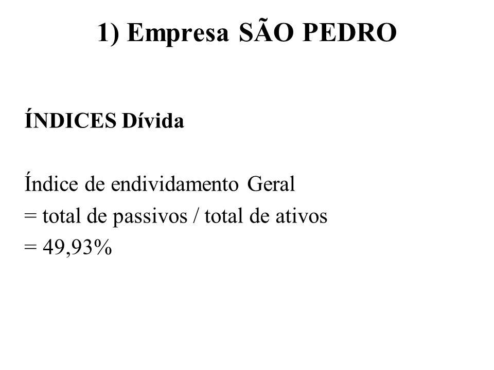 1) Empresa SÃO PEDRO ÍNDICES Lucratividade ROA = Lucro Líquido após IR / total ativos ROA = 1,57% ROE = Lucro Líquido após IR / Pat Líquido ROE = 3,13%