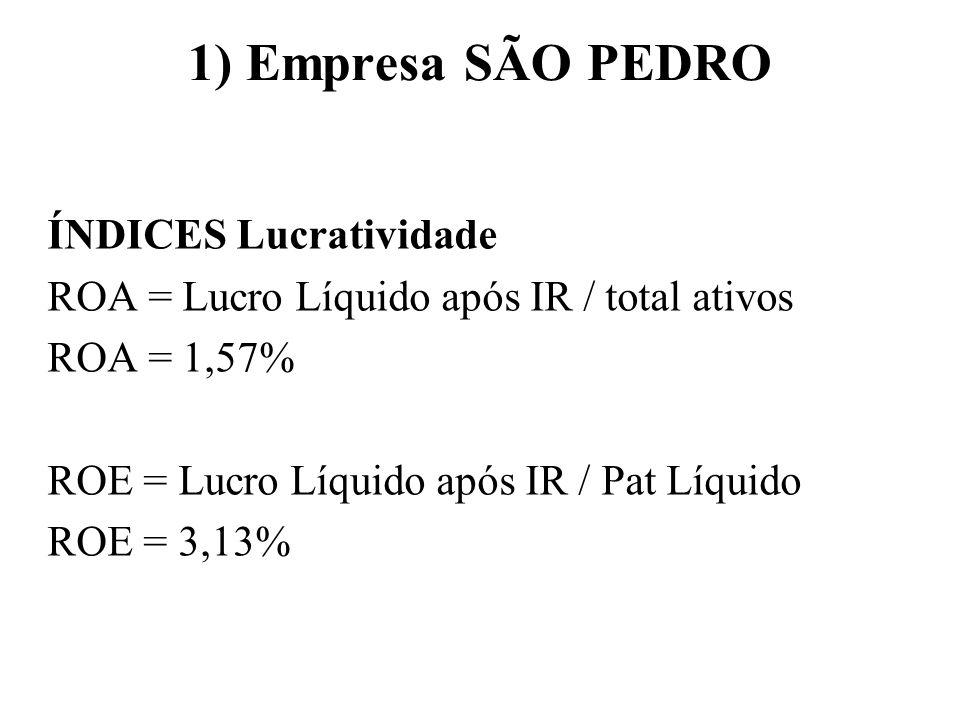 1) Empresa SÃO PEDRO ÍNDICES Lucratividade ROA = Lucro Líquido após IR / total ativos ROA = 1,57% ROE = Lucro Líquido após IR / Pat Líquido ROE = 3,13