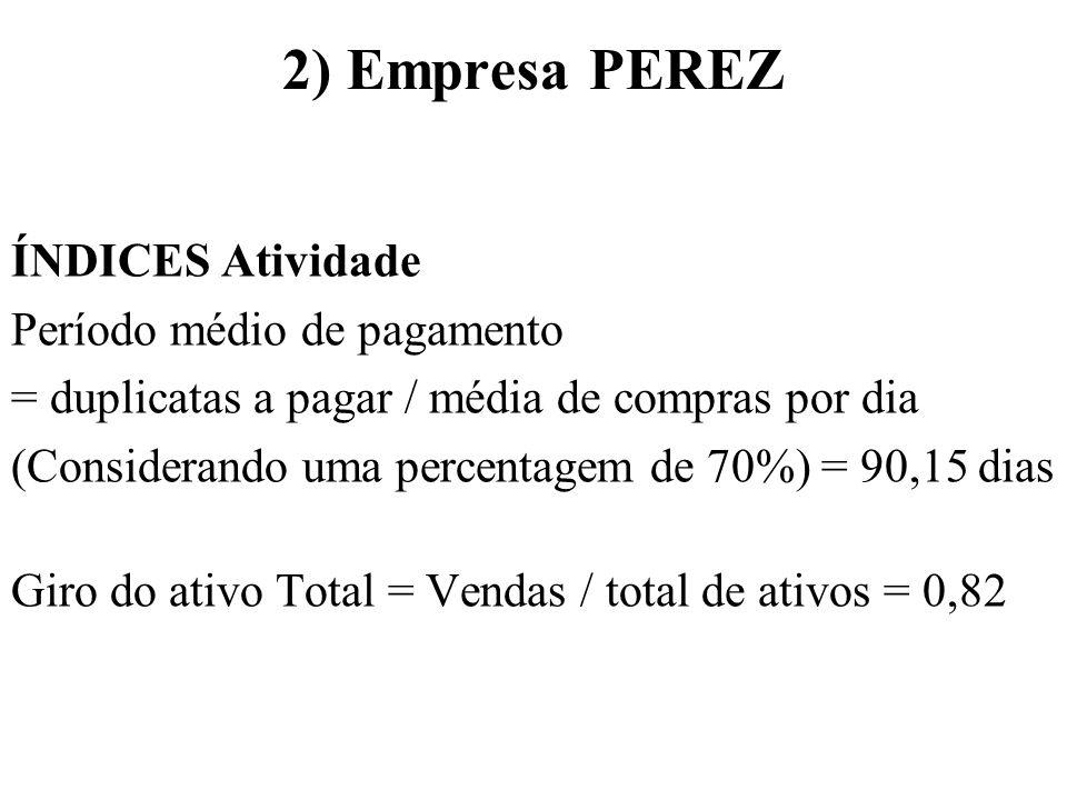 2) Empresa PEREZ ÍNDICES Atividade Período médio de pagamento = duplicatas a pagar / média de compras por dia (Considerando uma percentagem de 70%) =