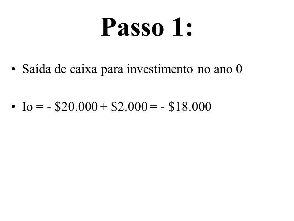 Passo 1: Saída de caixa para investimento no ano 0 Io = - $20.000 + $2.000 = - $18.000