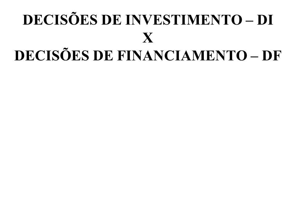 DECISÕES DE INVESTIMENTO – DI X DECISÕES DE FINANCIAMENTO – DF