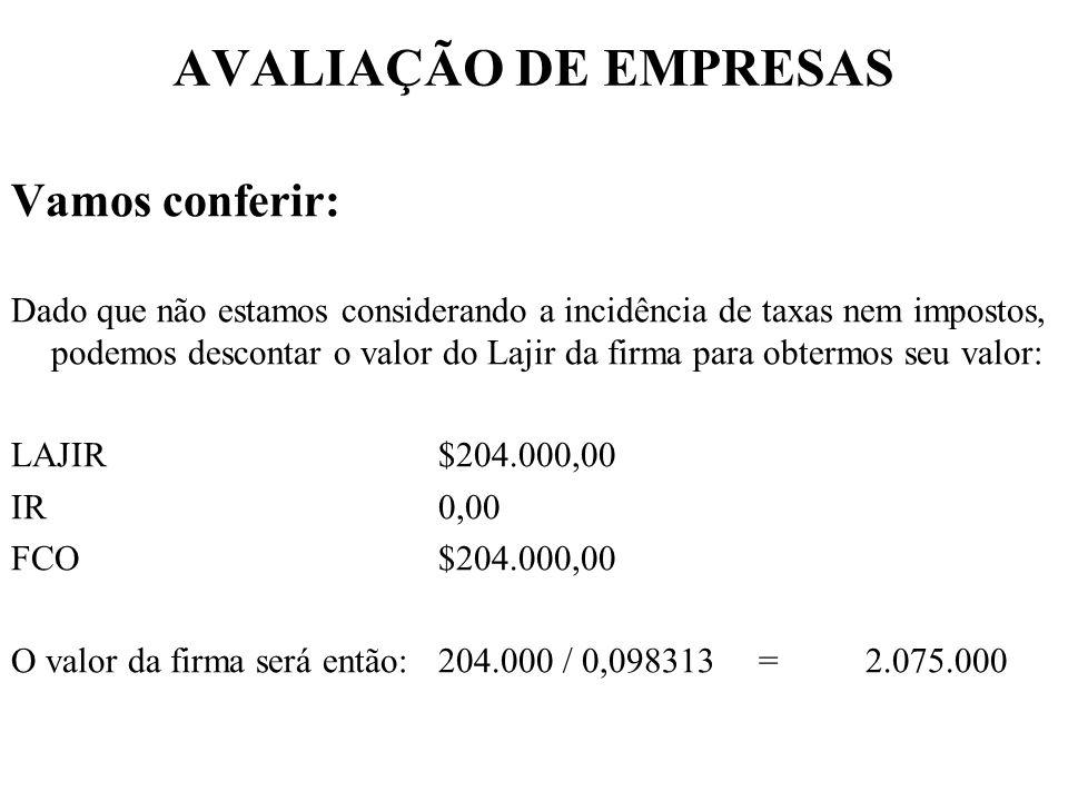AVALIAÇÃO DE EMPRESAS Vamos conferir: Dado que não estamos considerando a incidência de taxas nem impostos, podemos descontar o valor do Lajir da firm