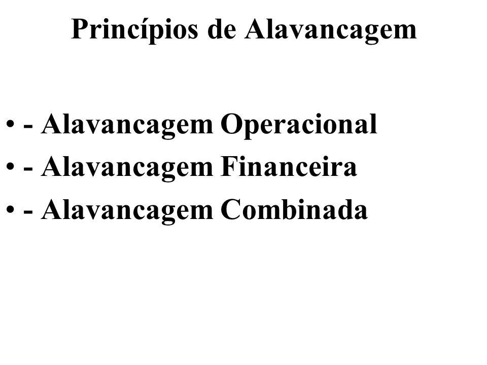 Princípios de Alavancagem ALAVANCAGEM: OPERACIONAL, FINANCEIRA E COMBINADA Estes dois tipos básicos de alavancagem podem ser melhor definidos com referencia à Demonstração de Resultados da empresa.