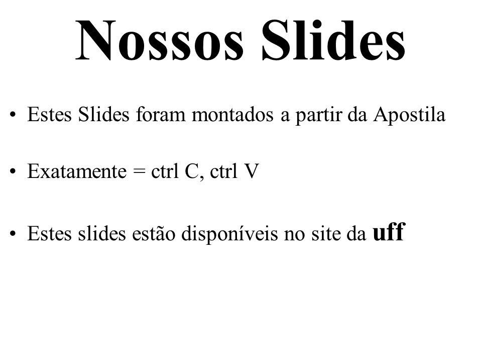 Nossos Slides Estes Slides foram montados a partir da Apostila Exatamente = ctrl C, ctrl V Estes slides estão disponíveis no site da uff