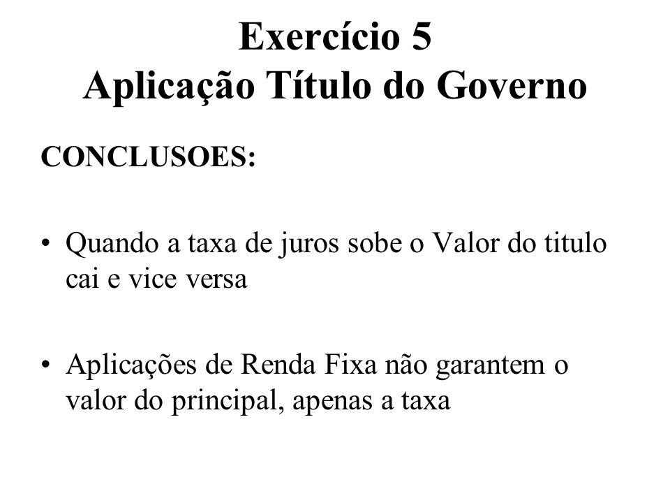 Exercício 5 Aplicação Título do Governo CONCLUSOES: Quando a taxa de juros sobe o Valor do titulo cai e vice versa Aplicações de Renda Fixa não garant
