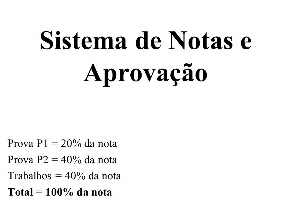 Sistema de Notas e Aprovação Prova P1 = 20% da nota Prova P2 = 40% da nota Trabalhos = 40% da nota Total = 100% da nota