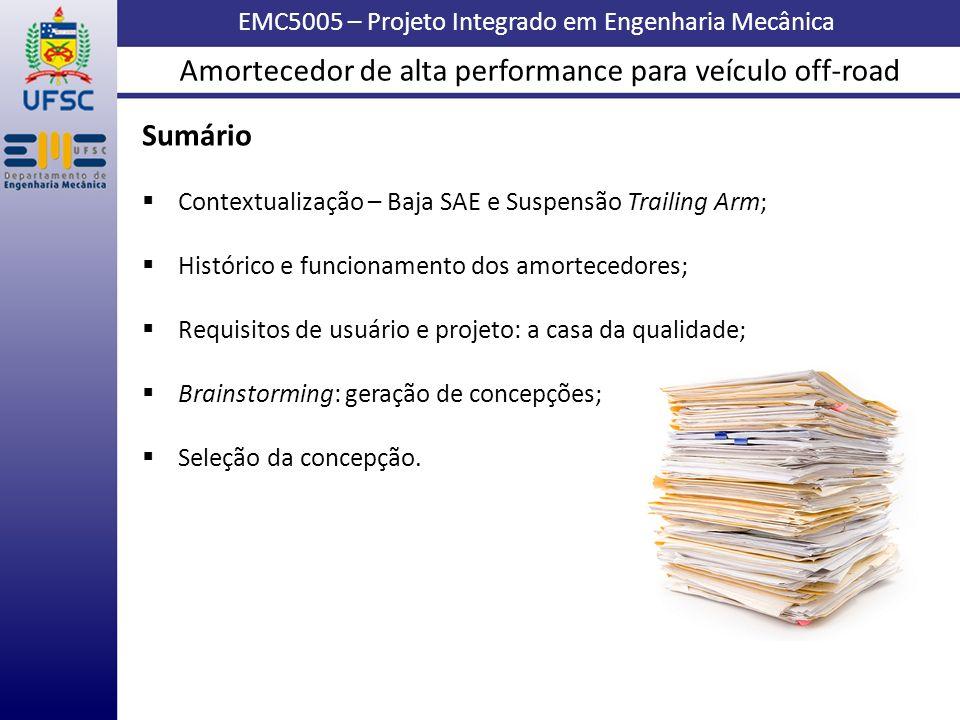 EMC5005 – Projeto Integrado em Engenharia Mecânica Sumário Contextualização – Baja SAE e Suspensão Trailing Arm; Histórico e funcionamento dos amortec