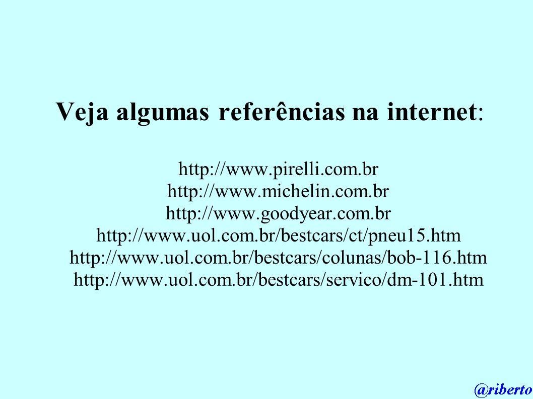 Veja algumas referências na internet: http://www.pirelli.com.br http://www.michelin.com.br http://www.goodyear.com.br http://www.uol.com.br/bestcars/c