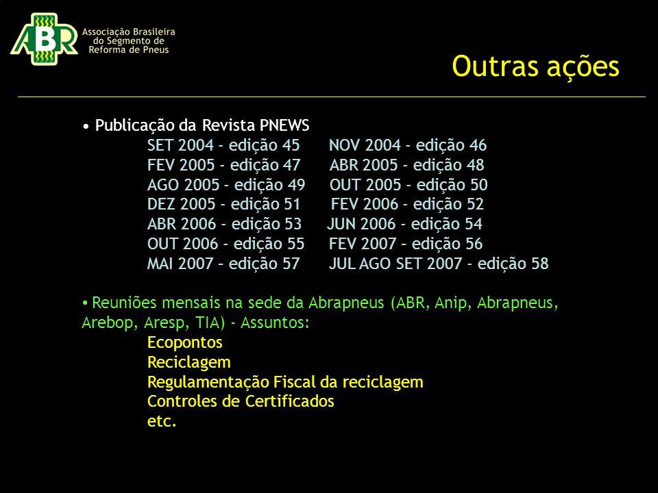 Publicação da Revista PNEWS SET 2004 - edição 45 NOV 2004 - edição 46 FEV 2005 - edição 47 ABR 2005 - edição 48 AGO 2005 - edição 49 OUT 2005 - edição 50 DEZ 2005 - edição 51 FEV 2006 - edição 52 ABR 2006 - edição 53 JUN 2006 - edição 54 OUT 2006 - edição 55 FEV 2007 – edição 56 MAI 2007 – edição 57 JUL AGO SET 2007 - edição 58 Reuniões mensais na sede da Abrapneus (ABR, Anip, Abrapneus, Arebop, Aresp, TIA) - Assuntos: Ecopontos Reciclagem Regulamentação Fiscal da reciclagem Controles de Certificados etc.
