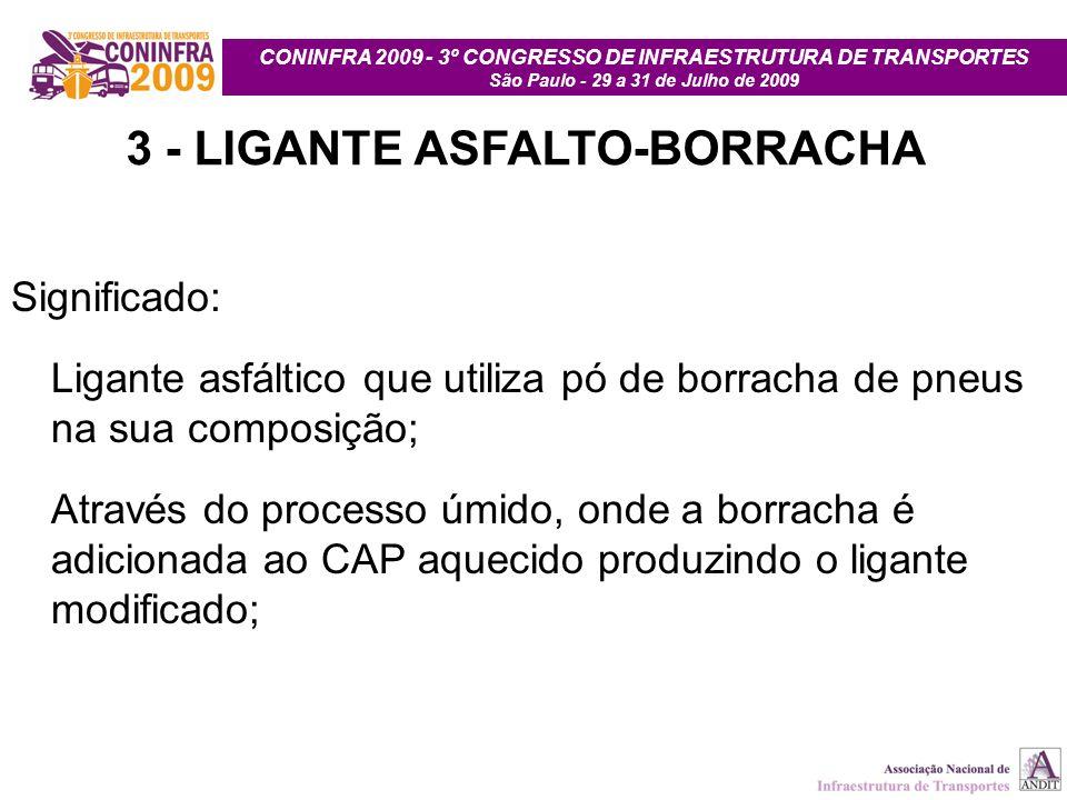 CONINFRA 2009 - 3º CONGRESSO DE INFRAESTRUTURA DE TRANSPORTES São Paulo - 29 a 31 de Julho de 2009 3 - LIGANTE ASFALTO-BORRACHA Significado: Ligante a