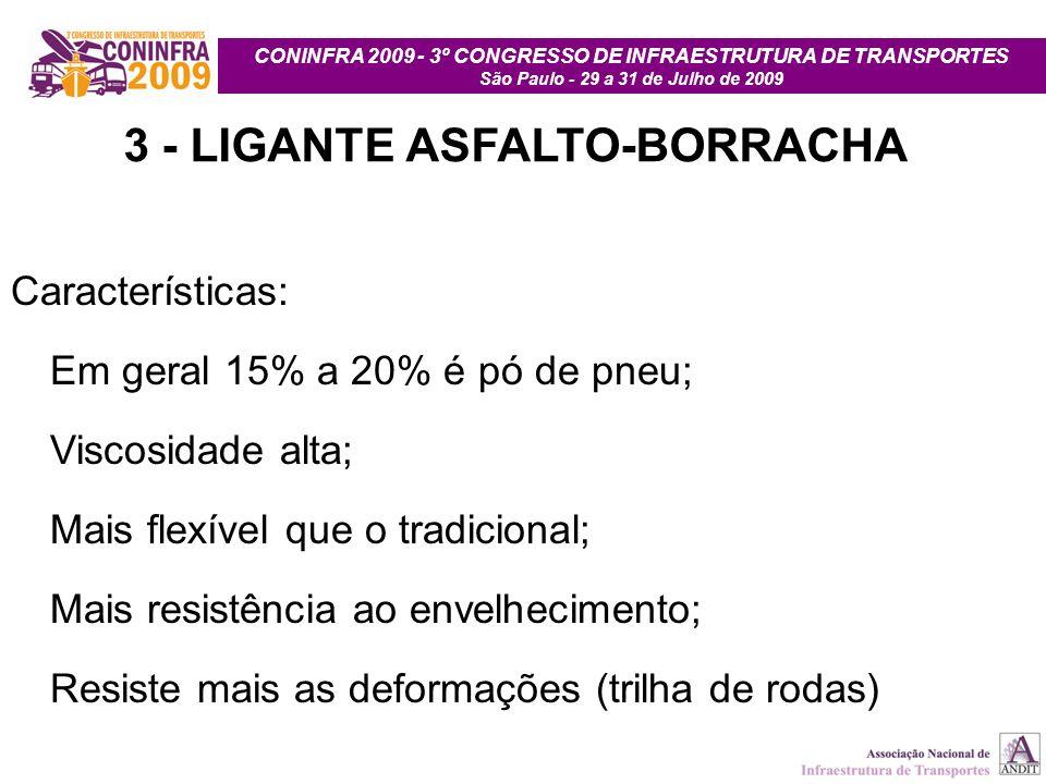 CONINFRA 2009 - 3º CONGRESSO DE INFRAESTRUTURA DE TRANSPORTES São Paulo - 29 a 31 de Julho de 2009 3 - LIGANTE ASFALTO-BORRACHA Características: Em ge