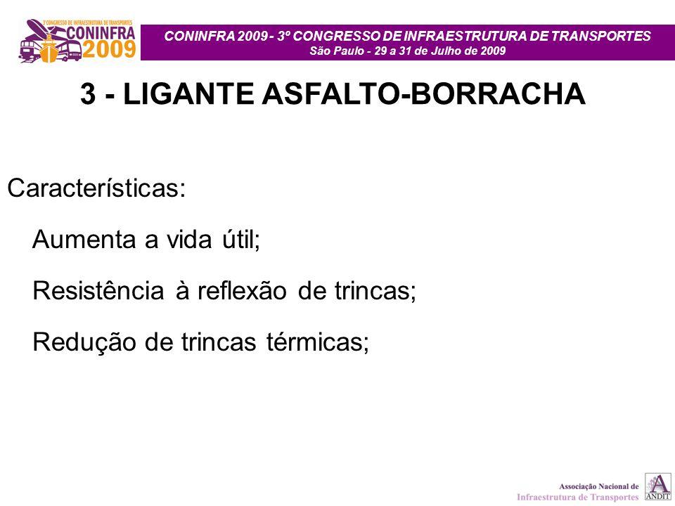 CONINFRA 2009 - 3º CONGRESSO DE INFRAESTRUTURA DE TRANSPORTES São Paulo - 29 a 31 de Julho de 2009 3 - LIGANTE ASFALTO-BORRACHA Características: Aumen
