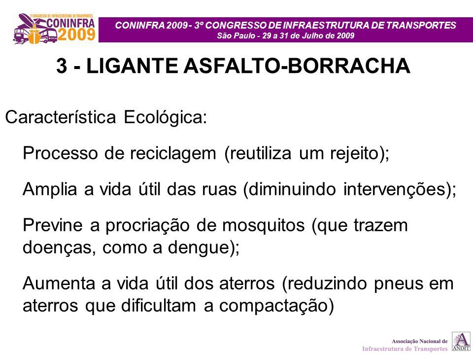 CONINFRA 2009 - 3º CONGRESSO DE INFRAESTRUTURA DE TRANSPORTES São Paulo - 29 a 31 de Julho de 2009 3 - LIGANTE ASFALTO-BORRACHA Característica Ecológi