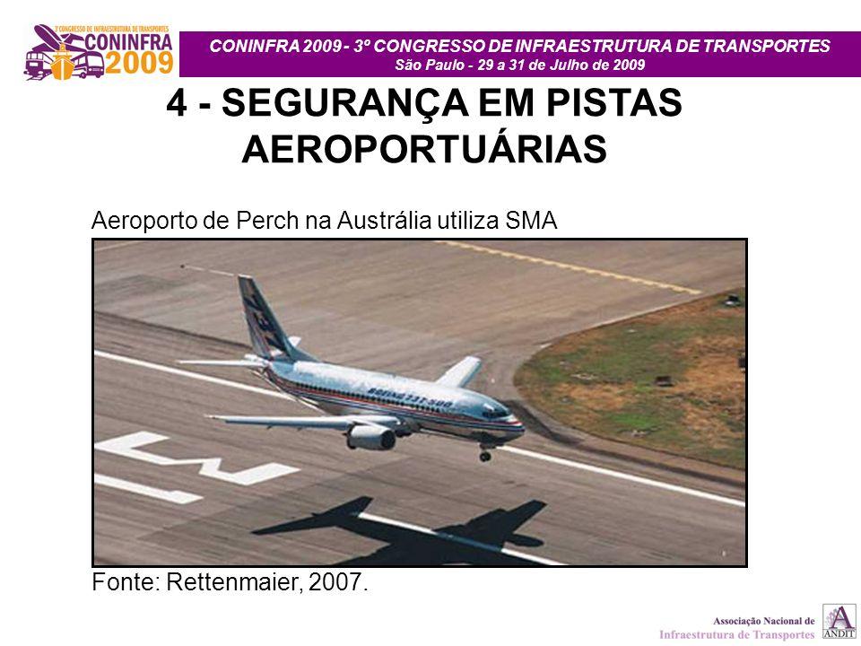 CONINFRA 2009 - 3º CONGRESSO DE INFRAESTRUTURA DE TRANSPORTES São Paulo - 29 a 31 de Julho de 2009 4 - SEGURANÇA EM PISTAS AEROPORTUÁRIAS Aeroporto de