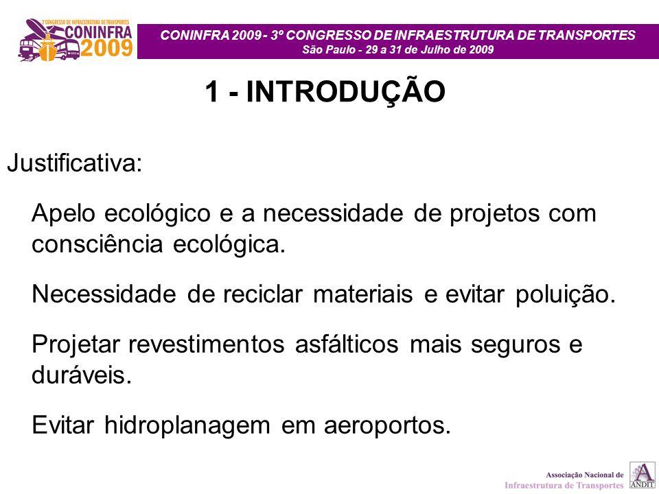 CONINFRA 2009 - 3º CONGRESSO DE INFRAESTRUTURA DE TRANSPORTES São Paulo - 29 a 31 de Julho de 2009 1 - INTRODUÇÃO Justificativa: Apelo ecológico e a n