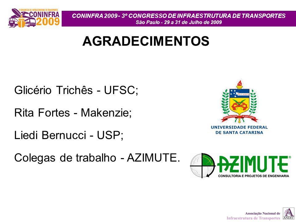 CONINFRA 2009 - 3º CONGRESSO DE INFRAESTRUTURA DE TRANSPORTES São Paulo - 29 a 31 de Julho de 2009 AGRADECIMENTOS Glicério Trichês - UFSC; Rita Fortes