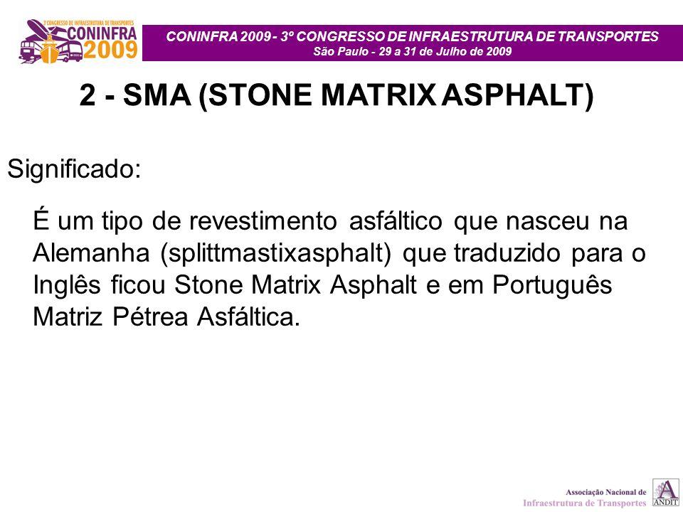 CONINFRA 2009 - 3º CONGRESSO DE INFRAESTRUTURA DE TRANSPORTES São Paulo - 29 a 31 de Julho de 2009 2 - SMA (STONE MATRIX ASPHALT) Significado: É um ti