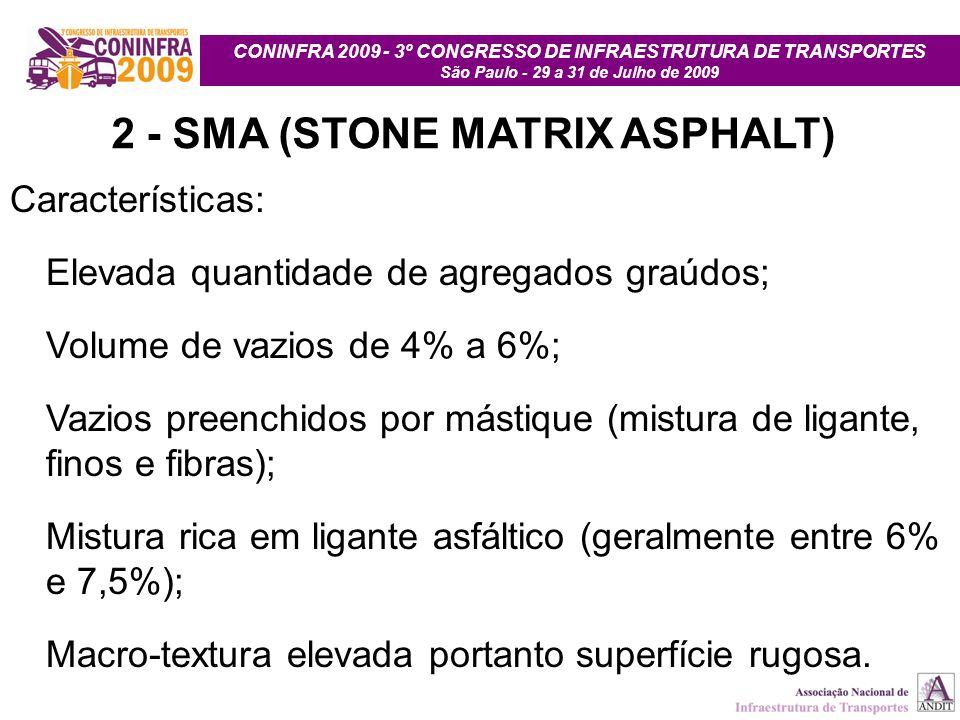 CONINFRA 2009 - 3º CONGRESSO DE INFRAESTRUTURA DE TRANSPORTES São Paulo - 29 a 31 de Julho de 2009 2 - SMA (STONE MATRIX ASPHALT) Características: Ele