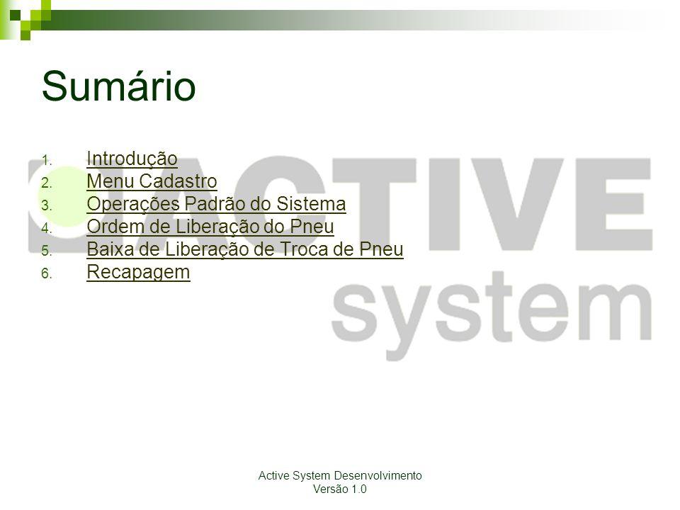 Active System Desenvolvimento Versão 1.0 Introdução Este manual tem por objetivo orientar os usuários a utilizar o Sistema de Combustível com eficiência.