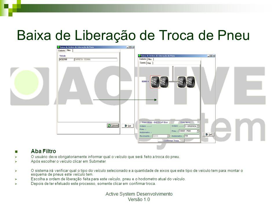 Active System Desenvolvimento Versão 1.0 Baixa de Liberação de Troca de Pneu Aba Filtro O usuário deve obrigatoriamente informar qual o veículo que se