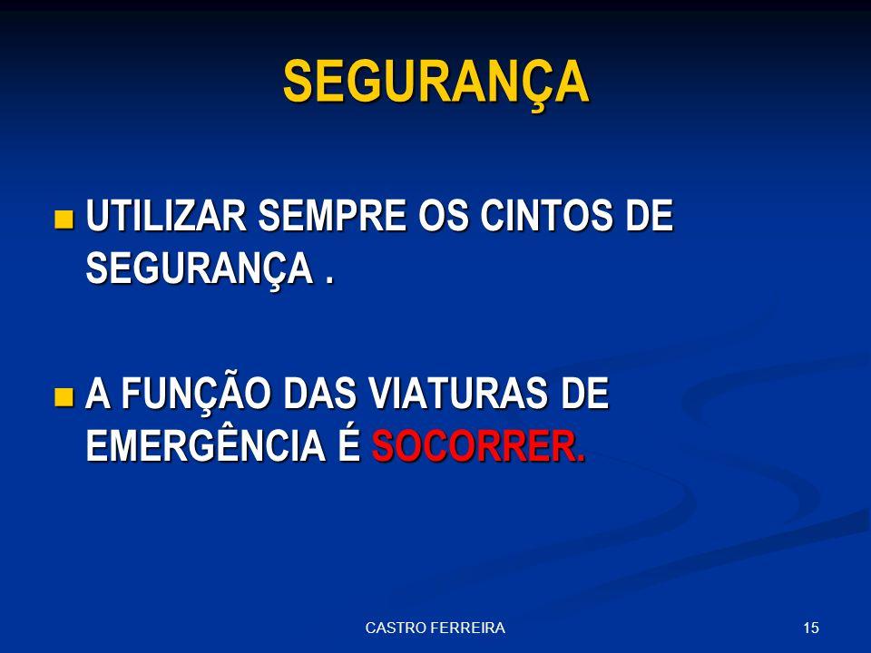 15CASTRO FERREIRA SEGURANÇA UTILIZAR SEMPRE OS CINTOS DE SEGURANÇA.