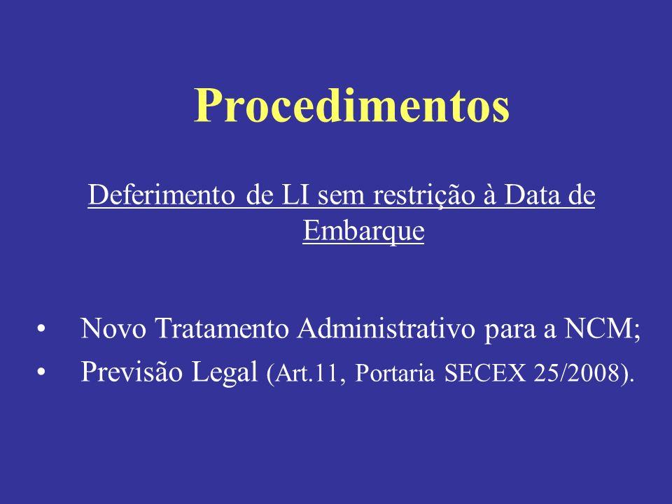 Deferimento de LI sem restrição à Data de Embarque Novo Tratamento Administrativo para a NCM; Previsão Legal (Art.11, Portaria SECEX 25/2008). Procedi