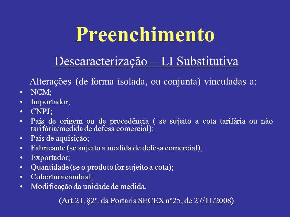 Descaracterização – LI Substitutiva Alterações (de forma isolada, ou conjunta) vinculadas a: NCM; Importador; CNPJ; País de origem ou de procedência (