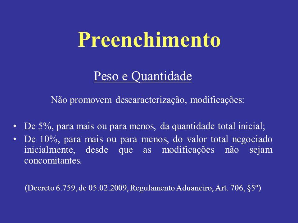 Peso e Quantidade Não promovem descaracterização, modificações: De 5%, para mais ou para menos, da quantidade total inicial; De 10%, para mais ou para