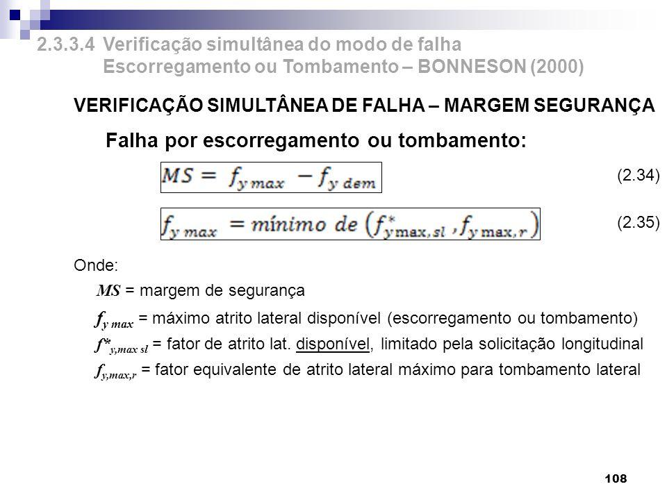 VERIFICAÇÃO SIMULTÂNEA DE FALHA – MARGEM SEGURANÇA Falha por escorregamento ou tombamento: Onde: MS = margem de segurança f y max = máximo atrito late