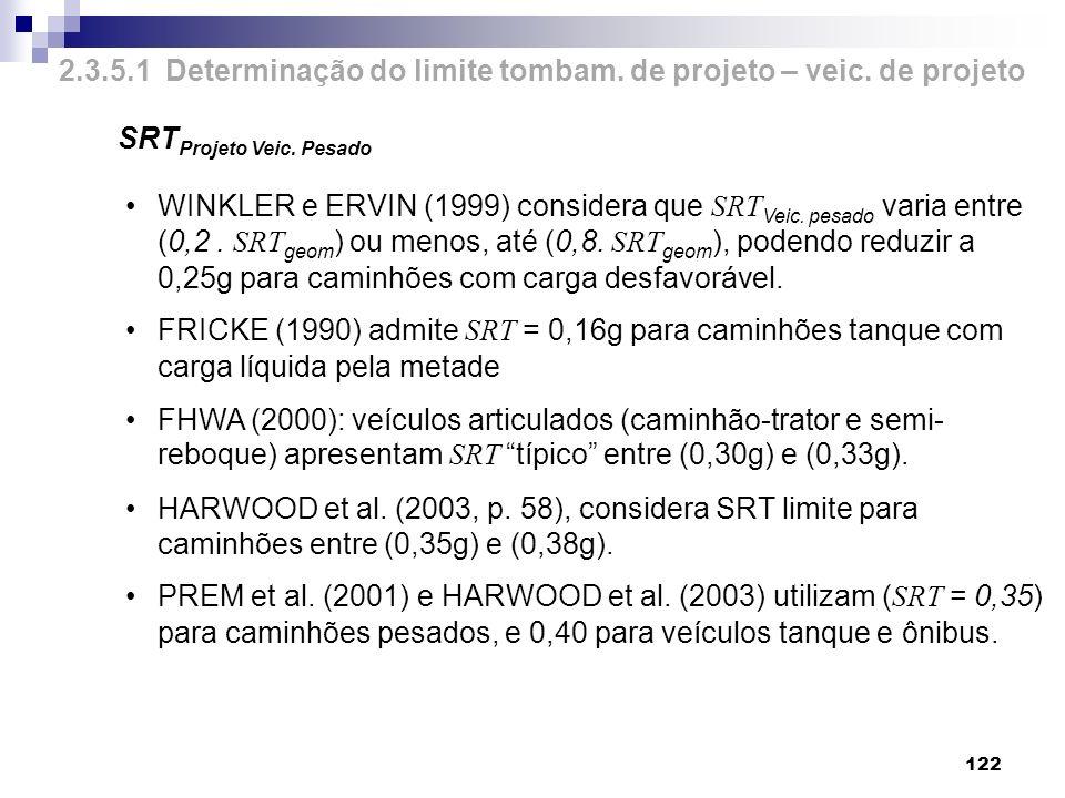 122 SRT Projeto Veic. Pesado WINKLER e ERVIN (1999) considera que SRT Veic. pesado varia entre (0,2. SRT geom ) ou menos, até (0,8. SRT geom ), podend