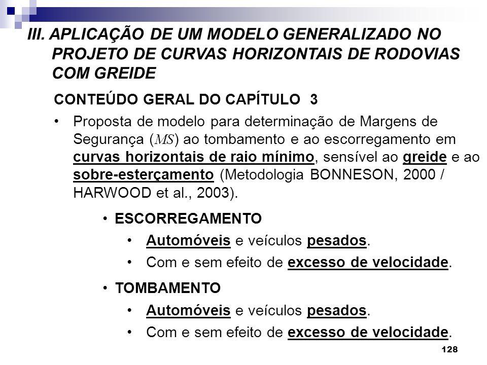 III. APLICAÇÃO DE UM MODELO GENERALIZADO NO PROJETO DE CURVAS HORIZONTAIS DE RODOVIAS COM GREIDE 128 CONTEÚDO GERAL DO CAPÍTULO 3 Proposta de modelo p