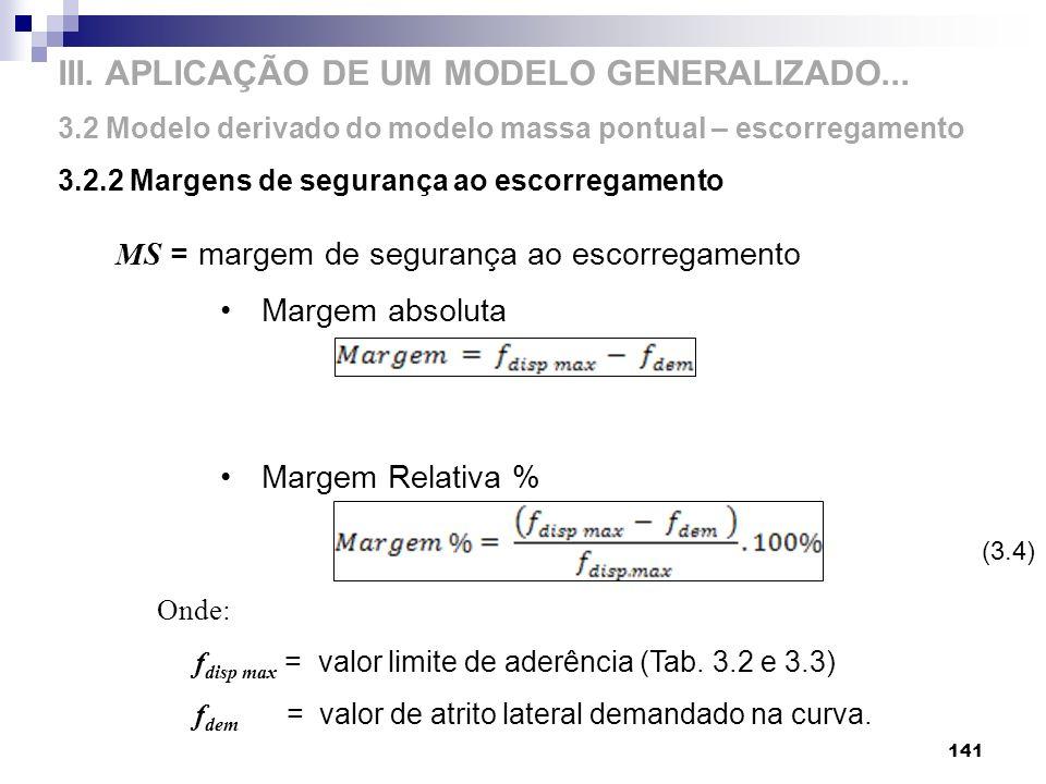MS = margem de segurança ao escorregamento Margem absoluta Margem Relativa % Onde: f disp max = valor limite de aderência (Tab. 3.2 e 3.3) f dem = val