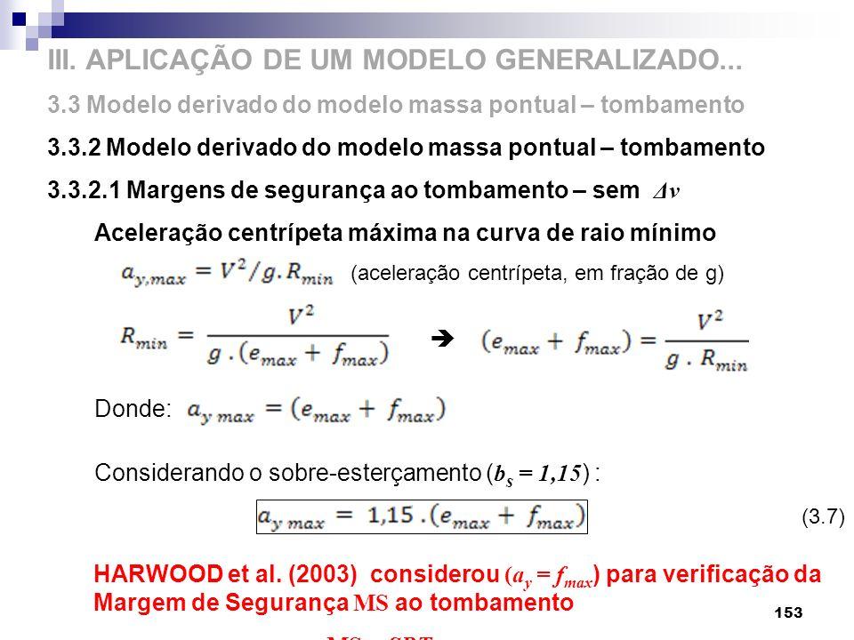 III. APLICAÇÃO DE UM MODELO GENERALIZADO... 3.3 Modelo derivado do modelo massa pontual – tombamento 3.3.2 Modelo derivado do modelo massa pontual – t