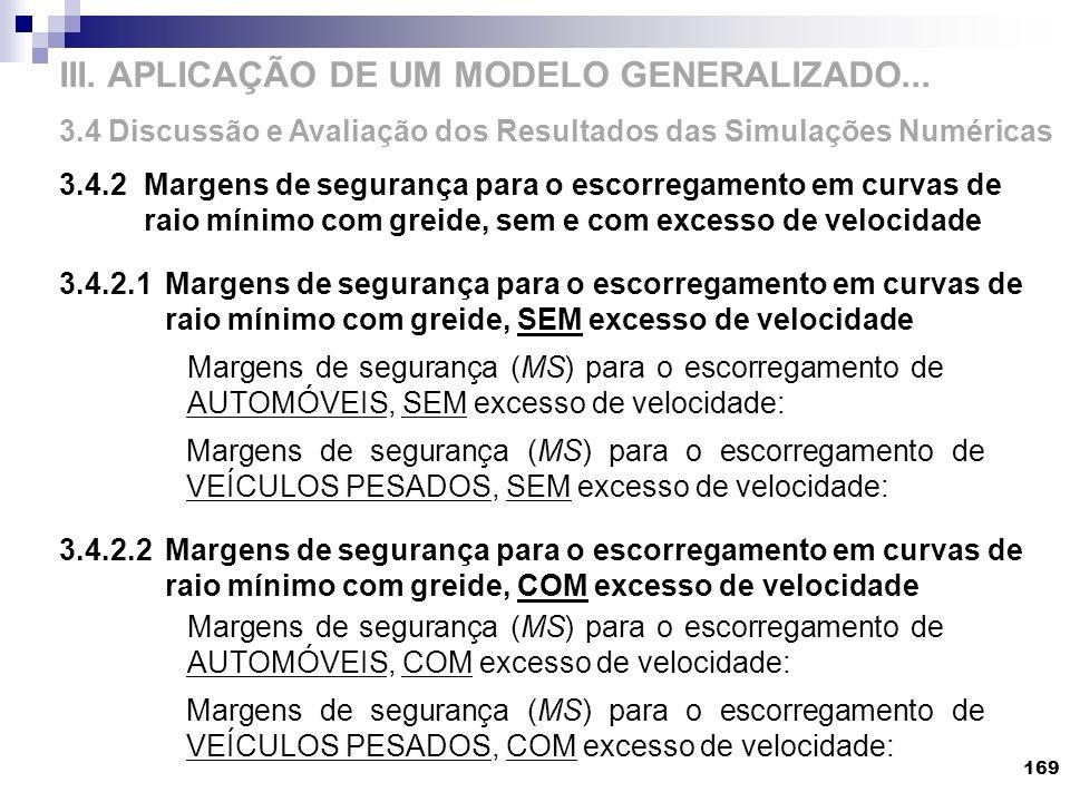 III. APLICAÇÃO DE UM MODELO GENERALIZADO... 3.4 Discussão e Avaliação dos Resultados das Simulações Numéricas 3.4.2Margens de segurança para o escorre