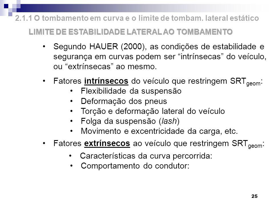 25 2.1.1 O tombamento em curva e o limite de tombam. lateral estático LIMITE DE ESTABILIDADE LATERAL AO TOMBAMENTO Segundo HAUER (2000), as condições