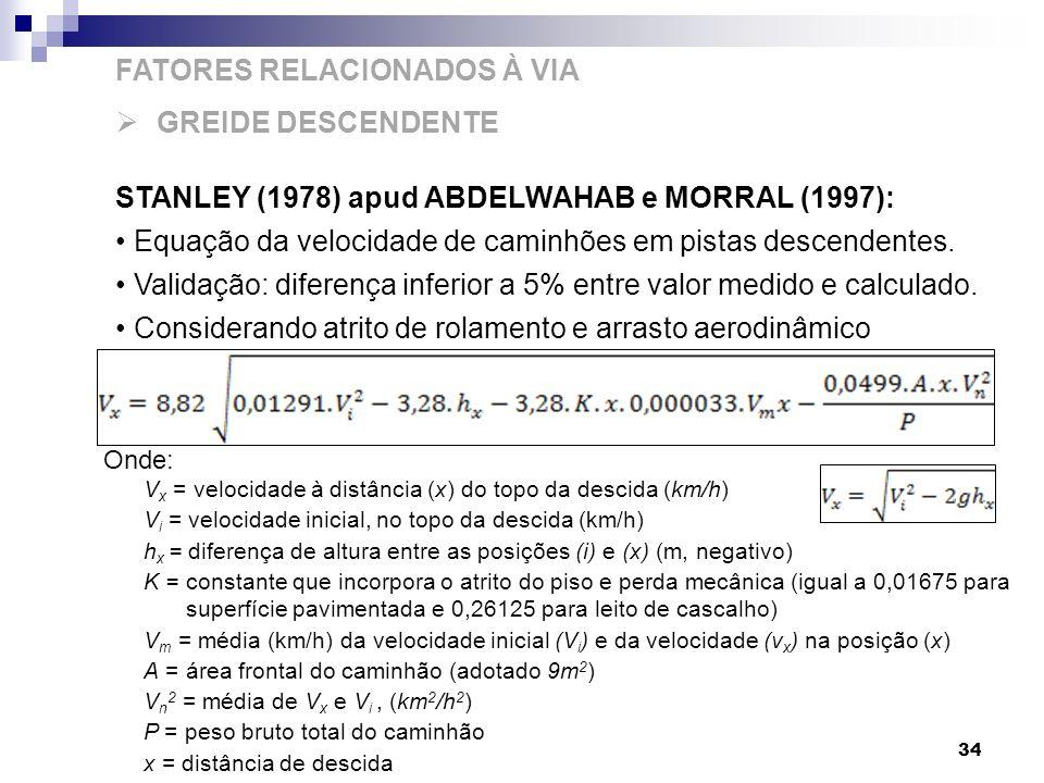 34 FATORES RELACIONADOS À VIA GREIDE DESCENDENTE STANLEY (1978) apud ABDELWAHAB e MORRAL (1997): Equação da velocidade de caminhões em pistas descende
