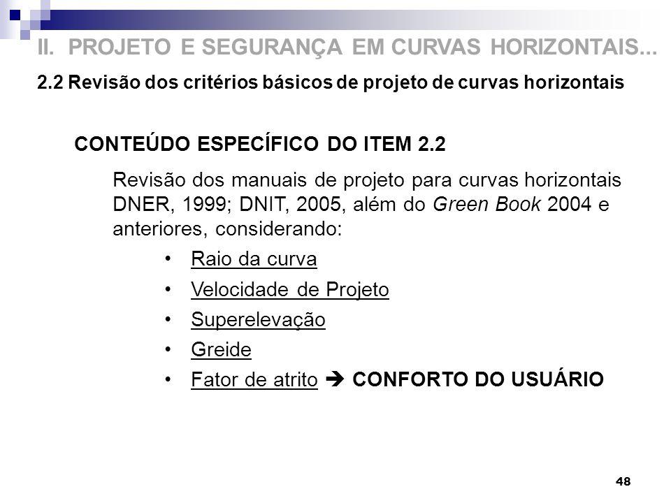 II. PROJETO E SEGURANÇA EM CURVAS HORIZONTAIS... 2.2 Revisão dos critérios básicos de projeto de curvas horizontais 48 CONTEÚDO ESPECÍFICO DO ITEM 2.2