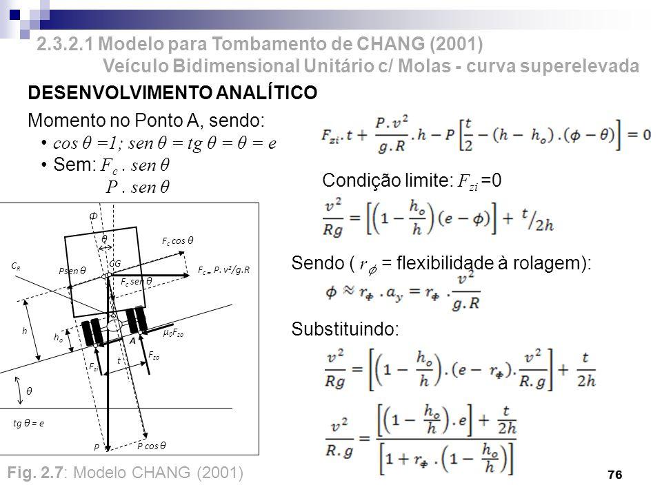 2.3.2.1 Modelo para Tombamento de CHANG (2001) Veículo Bidimensional Unitário c/ Molas - curva superelevada 76 Sendo ( r = flexibilidade à rolagem): S