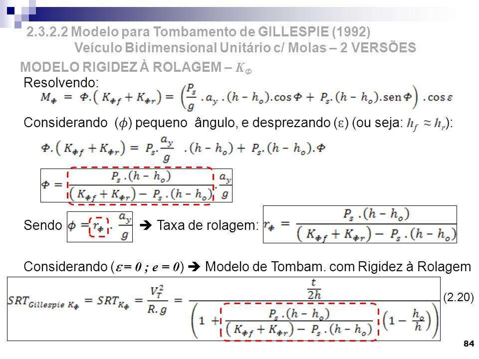 84 Resolvendo: Considerando () pequeno ângulo, e desprezando ( ɛ ) (ou seja: h f h r ): Sendo Taxa de rolagem: Considerando ( ɛ = 0 ; e = 0 ) Modelo d