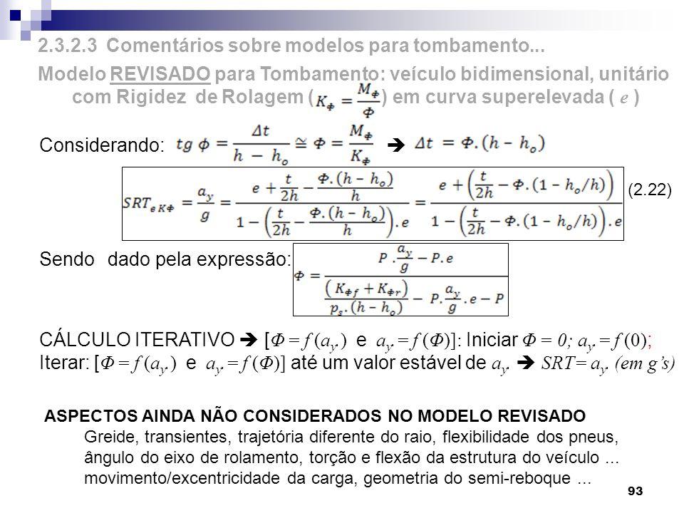 Considerando: Sendo dado pela expressão: CÁLCULO ITERATIVO [ Φ = f (a y.) e a y.= f (Φ)]: Iniciar Φ = 0; a y.= f (0) ; Iterar: [ Φ = f (a y.) e a y.=
