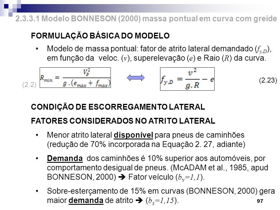 FORMULAÇÃO BÁSICA DO MODELO Modelo de massa pontual: fator de atrito lateral demandado ( f y,D ), em função da veloc. ( v ), superelevação ( e ) e Rai