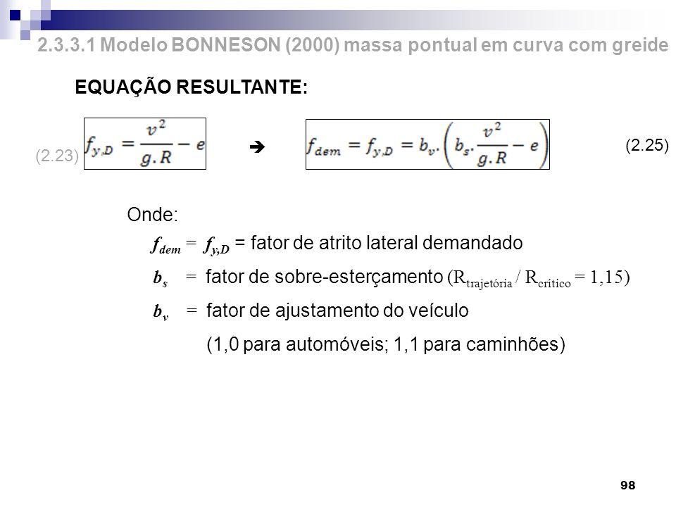 98 2.3.3.1 Modelo BONNESON (2000) massa pontual em curva com greide EQUAÇÃO RESULTANTE: Onde: f dem = f y,D = fator de atrito lateral demandado b s =