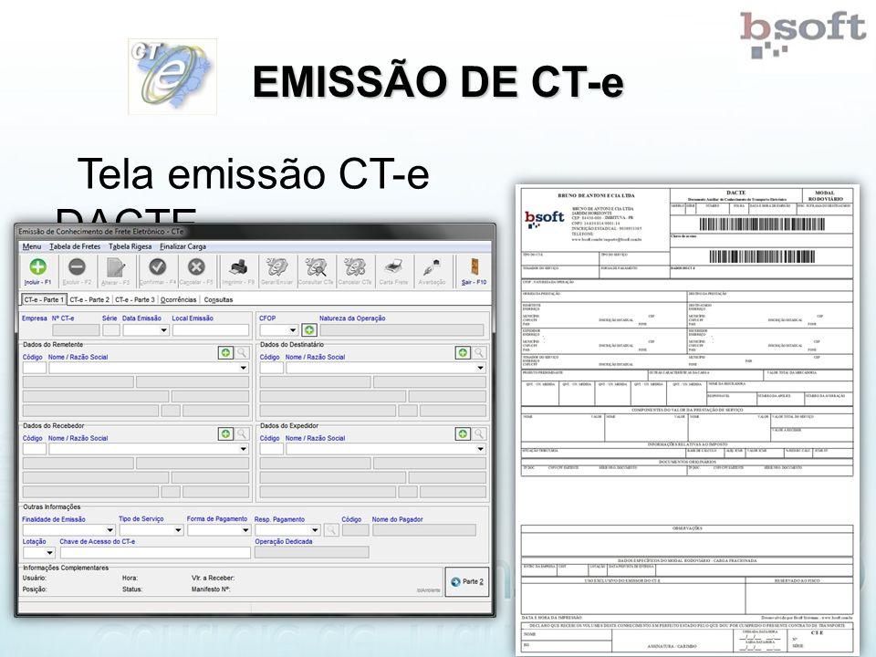 EMISSÃO DE CT-e Tela emissão CT-e DACTE
