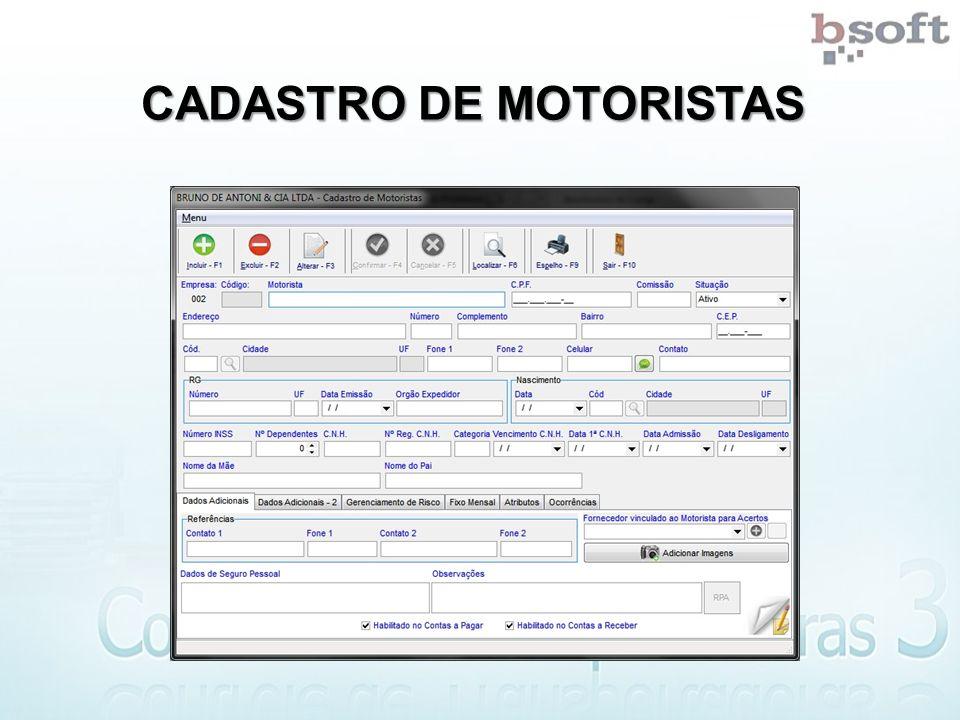 CADASTRO DE MOTORISTAS