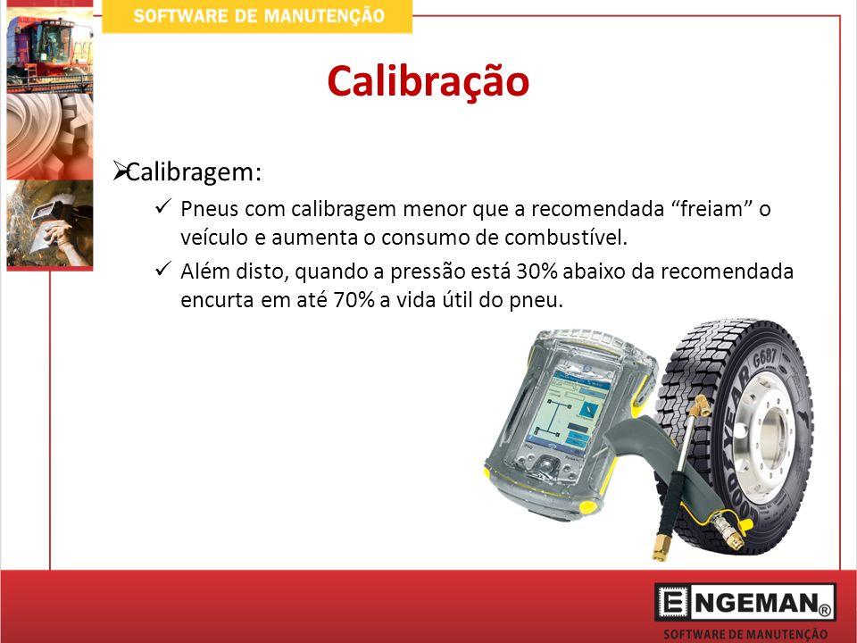 Calibração Calibragem: Pneus com calibragem menor que a recomendada freiam o veículo e aumenta o consumo de combustível. Além disto, quando a pressão