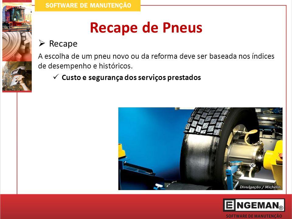 Recape A escolha de um pneu novo ou da reforma deve ser baseada nos índices de desempenho e históricos. Custo e segurança dos serviços prestados Recap