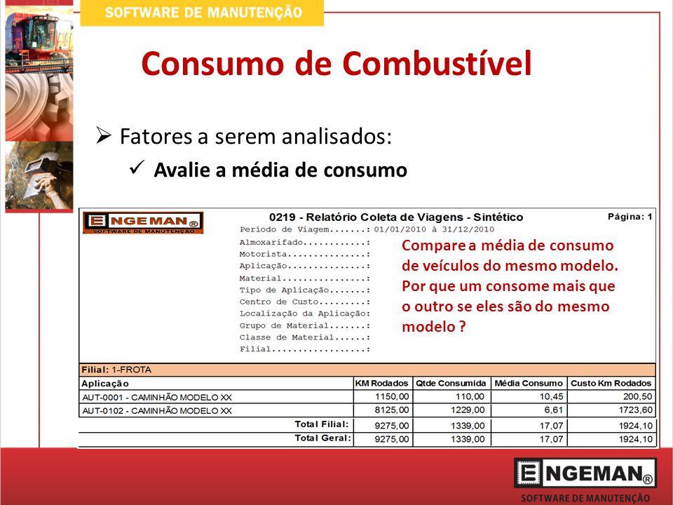 Fatores a serem analisados: Avalie a média de consumo Compare a média de consumo de veículos do mesmo modelo. Por que um consome mais que o outro se e