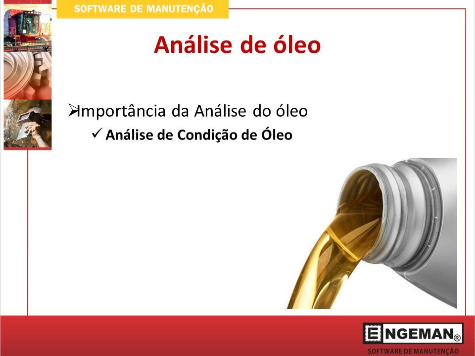 Análise de óleo Importância da Análise do óleo Análise de Contaminação de Óleo
